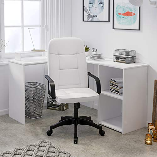 White Desk Chair,Ergonomic Leather Office Chair with Armrest High Back Computer Chair with Rocking Function Comfy Padded Swivel Chair,Home/Office Furniture