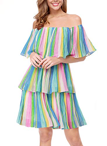 Women's Off The Shoulder Midi Layered Ruffles Summer Loose Casual Chiffon Party Beach Dress(Real Shooting) (Multi, M)