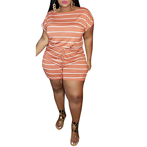 IyMoo Women's Plus Size Summer Short Sleeve Solid Jumpsuit Rompers with Pockets Short Pant Rompers Playsuit Orange Striped XL