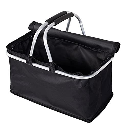 Faltbarer Einkaufskorb faltbar - Tragetasche Klappkorb Tragekorb klappbar Picknickkorb mit Deckel schwarz (Schwarz (1 Stuck))