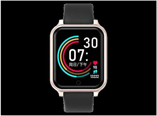 AMBM Reloj inteligente para hombre y mujer, monitor de presión arterial B57 Plus Q9 P68, pulsera inteligente deportiva (color: negro)-oro