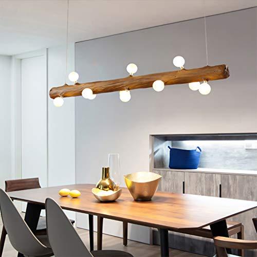 LED Pendelleuchte aus Holz Rustikal Esstisch Hängeleuchte Moderne Hängelampe aus Glas Mit G4 Glühlampe Höhenverstellbar 12 flammig Deckenleuchte für Küche Wohnzimmer Büro Arbeitszimmer (Warmes Licht)