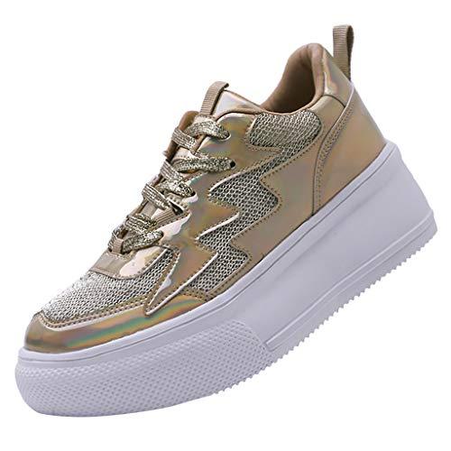 HULKY Zapatos Deportivos Plataforma Mujer, Zapatillas Brillantes Zapatos Ligeros de Malla Transpirable Calzado Running Andar Casual Fiesta Clásico Comodos (Oro,40)