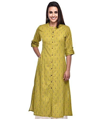 Pistaa's Women's Cotton Regular Kurta (KU_STICK_MG_40M_Green_Medium)