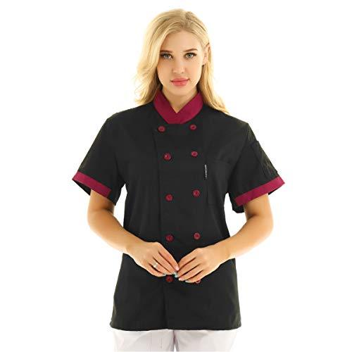 Freebily Unisexo Camisa de Cocineros Camareros Chef Uniforme Mandarin de Trabajo Cocina Hotel Restaurante Chaqueta Llaboral Profesional Mangas Cortas Doble Pecho Negro Medium