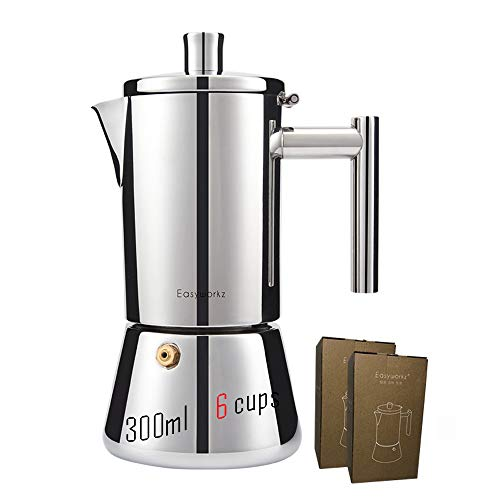 Purewords EasyWz 300ml 6 Cups Moka Coffee Pot, Espresso Coffee Maker Italian Style | Multiple Heating Supportive | 303 and 430 Stainless Steel.