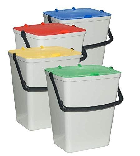Art Plast Kit 4 Secchi per raccolta differenziata, in polipropilene, Multicolore, 305 x 265 x 410, 4 Unità x 14 litri