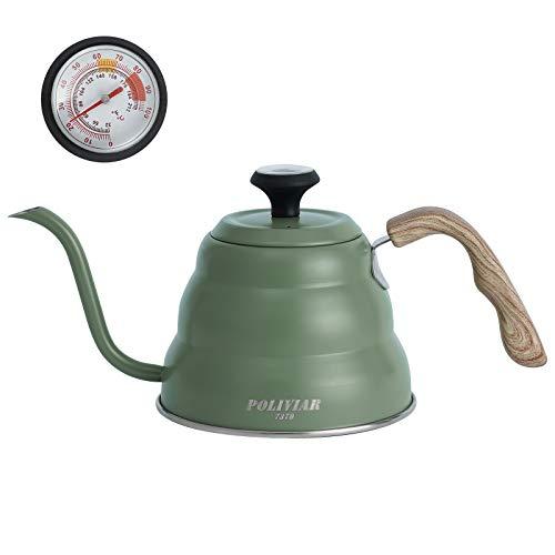 Poliviar Thermometer Kaffeekessel 1 Liter Schwanenhals Wasserkocher gießen über Schwanenhalsausguss Kaffeekanne mit Holzgriff für Induktionsfeuer & Herdplatten Kaffeekocher für Kaffee und Tee, Grün