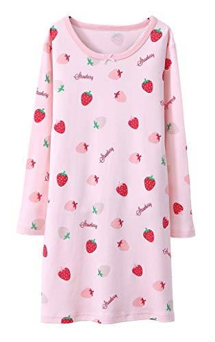 ABClothing Adorable Chemise de Nuit Bowknot & Fraise des Grandes Filles Pyjama d'été Floral et Rose, âge 13 14 Ans