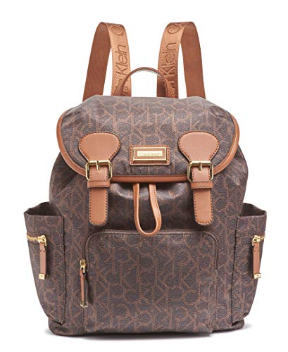 Calvin Klein Belfast Nylon Buckle Backpack, Brown/Khaki Photoprint