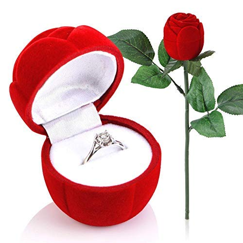HEEPDD Scatola per Anello di Rose Rosse, Scatola di Gioielli per Orecchini a Forma di Rosa Rossa Anello Romantico proposta Ring Case per Matrimonio di Fidanzamento San Valentino