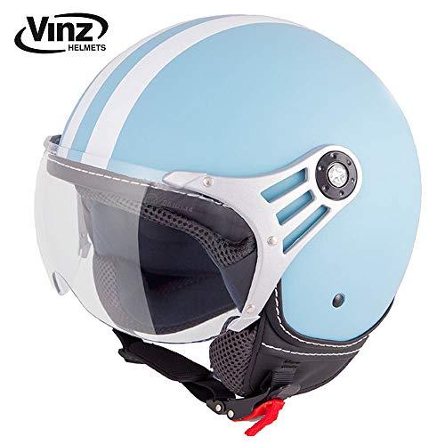 Vinz Rollerhelm Jethelm Fashionhelm | Roller Jet Helm mit Streifen | in Gr. XS-XL | Motorradhelm mit Visier | ECE zertifiziert (S, Hellblau)