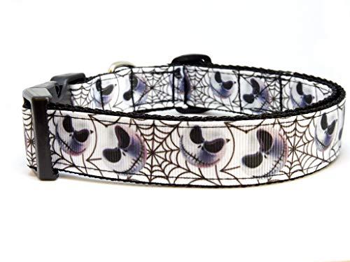 BGDesign Halsband Halloween Hundehalsband Skull Totenkopf Spider Nylon verstellbar Schnalle weiß schwarz 38-53 cm x 2,5 cm