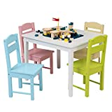 YAYUNLVYIN Children's Wooden Table and Chair Set,Includes 4 Chairs and 1 Activity Table (White & Pastel)