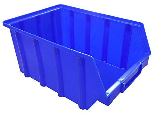 5 Stück Stapelboxen blau Gr.4 (222 x 340 x 157 mm) Kunststoff PP Sichtlagerkästen Stapelkästen ohne Aufhängevorrichtung