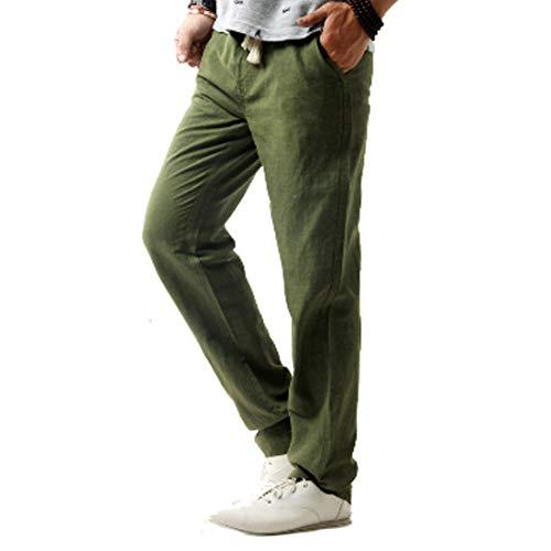 Inlefen Pantaloni Lunghi Sciolti in Lino Morbidi Estivi da Uomo Pantaloni Lunghi in Vita Elasticizzati Traspiranti di Grossa Taglia Medi con Tasca