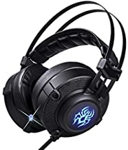 Gaming Headset for PC/Laptop with Noise Cancelling, Retractable Mic - High Tech Headphones-7.1 Virtual Surround Sound with Real-Life Vibration, LED Light, USB Plug-in