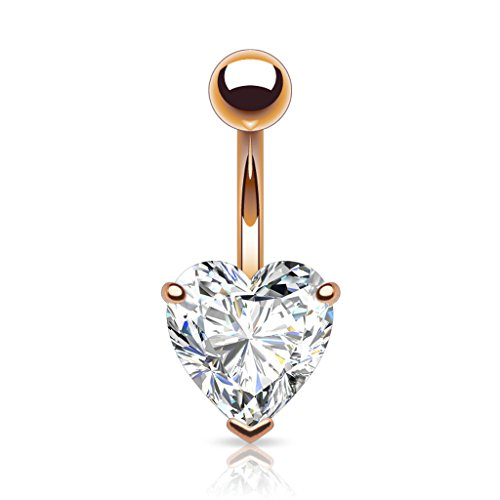 """Heart Shaped Rose Gold 14kt Plated CZ Belly Button Ring 316L 14g Navel Ring (8mm (0.31"""") width heart)"""