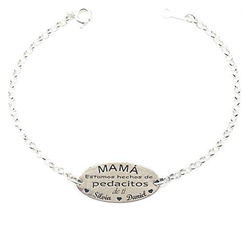 MASBARATA.ES Pulsera Personalizada para Mama DE Plata DE Ley 925/1000