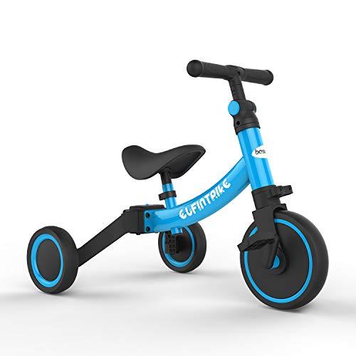 besrey Kinder Dreirad Laufrad Kinderlaufrad Rutschenrad mit Pedal, 5 Verschiedene Modi für Baby von 1 bis 4 Jahren - Blau