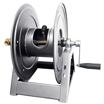 "General Pump DHRA50150 3/8"" x 150' Charcoal Grey Steel Hose Reel with Flat Sidewalls, A-Frame, Pin Lock & Brake and Stainless Steel Swivel Inlet, 5000 PSI"