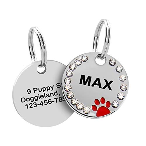 Rhinestones Paw Pet ID Tag, Stainless Steel Custom Engraved ID Tags, Round Crystal Paw Tags with Double-Side Laser Engraving for Dogs, Cats, Puppies and Kittens