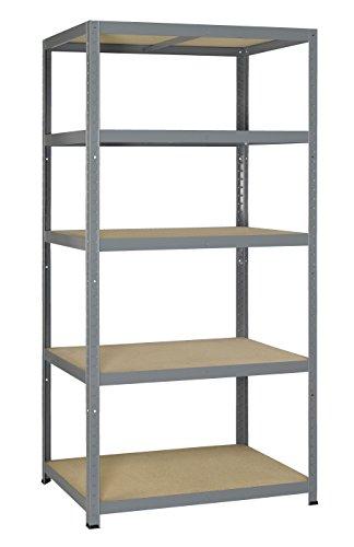 Avasco 5400431610352 - Forte clip di pesante 265 metallo e legno scaffale con 5 ripiani 180 x 90 x 60 cm grigio
