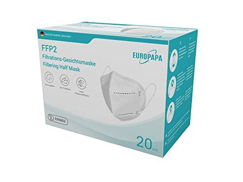 EUROPAPA 20x Respirador FFP2 máscara 5 capas CE|2163 - probado por DEKRA - embalaje individual higiénico