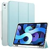MoKo Hülle Kompatibel mit iPad Air 4. Generation 2020 Neu iPad 10.9 Zoll 2020, Smart Hülle Ständer Schutzhülle Dreifach Cover mit Transluzent TPU Rückseite & Stifthalter, Himmelblau