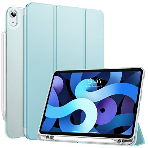 MoKo Case Fit iPad Air 4th Generation 2020 New iPad 10.9 2020, Built-in Pencil Holder, Smart Shell Trifold Cover with Translucent TPU Back Corner/Bumper Protector Case, Sky Blue