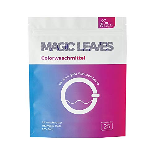 MAGIC LEAVES Colorwaschmittel - perfekt dosierte Waschblätter mit der farbschonenden Formel - 25 WL