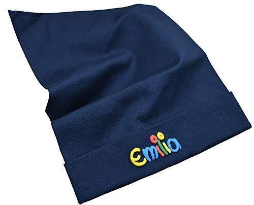 Kopftuch blau mit Namen Größe S oder M Sonnenschutz Babymütze Kinderkopftuch für Mädchen Babys Kleinkinder Mädchenkopftuch