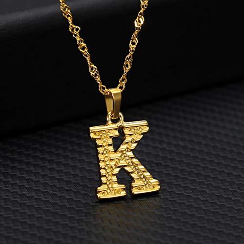 CXWK Collares con Iniciales de Letras AZ para Mujeres, Hombres, Cadena de Acero Inoxidable Dorado, Gargantilla, Colgante, Collar, joyería de 45 cm