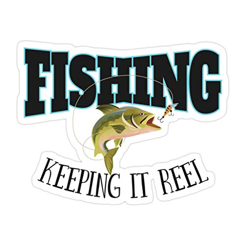DKISEE 3 piezas de pesca divertido carrete de pesca Keeping It – Pegatinas troqueladas de 4 pulgadas para portátil, ventana, coche, botella de agua
