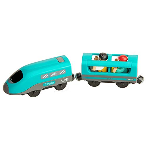 Saicowordist Control remoto tren el tanque motor niño juguete magnético eléctrico tren RC modelo vehículo locomotora juego para pista de madera para regalo de cumpleaños (A)