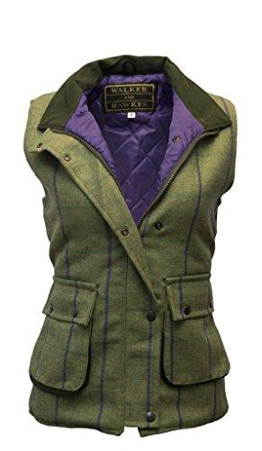 Walker and Hawkes Damen Country-Weste aus Tweed - für die Jagd geeignet - Muster mit lila Streifen - Größen 34 bis 50