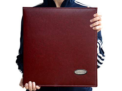 ZOVIEW Self-Adhesive Photo Album, Dust-Free, air-Free, Glue Free and Waterproof Album, Family Album, Leather Cover,Hand Made DIY Albums Holds 3X5, 4X6, 5X7, 6X8,8X10, Photos A52045 (Wine Red)