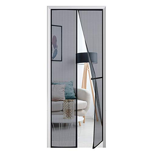 [Upgraded Version] Magnetic Screen Door 38'x97', Homitt Durable Fiberglass Mesh Curtain, Magnet Patio Door with Full Frame Hook & Loop, Auto Closer Fits Door Size up to 36'x96' Max- Black