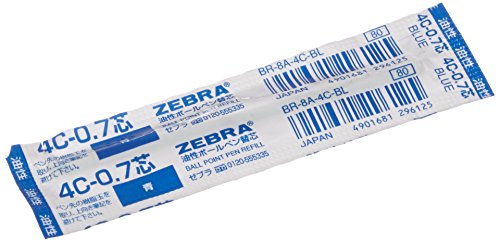Zebra Oil-Based Ballpoint Pen Refill for Sharbo X, Minna, SL-F1, Fortia500, Workdash Blue Ink, 0.7mm Point (BR-8A-4C-BL)
