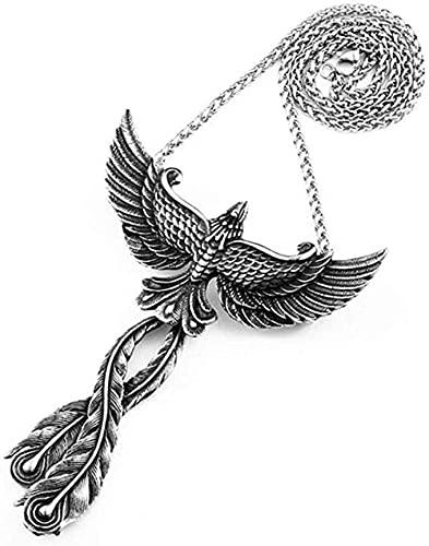 Aluyouqi Co.,ltd Collar Collar con Colgante De Renacimiento De Fénix Vintage De Acero Inoxidable para Hombres Y Mujeres, Collares De Fénix De Pájaro Punk Rock con Cadena De Regalo para Él
