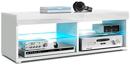 Vladon TV Lowboard Fernsehtisch Pure, Korpus in Weiß matt/Blende und Oberboden in Weiß Hochglanz, mit RGB LED Beleuchtung | Große Farbauswahl