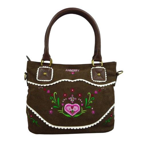 ANBERRY Handtasche - Flowers & Frills, Tasche mit Stickerei, Trachtentasche, Dirndl Bag