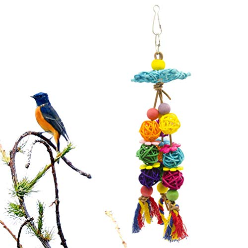 Balacoo 2Pcs Parrot Bird Chewing Toy Wood Rattan Ball Parrot Cage Bite Toys Tearing Toy Hanging Parrot Swing for Budgie Lovebirds Conures
