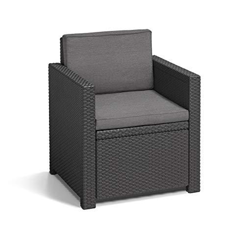 Koll Living Lounge Set Korsika in anthrazit, inkl. Sitzauflagen & Rückenkissen, langlebiger & wetterfester Kunststoff in Rattanoptik, 2 Sessel + 1 Sofa + Tisch - 8