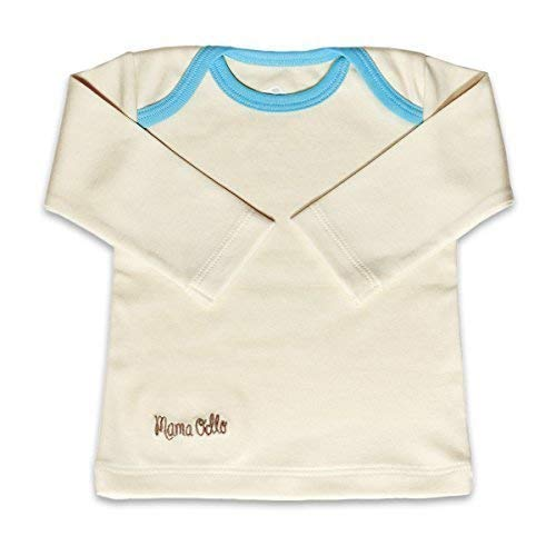 Mama Ocllo - Bebé -camisa Schlupf-, Bio Pima Algodón,Americano Escote,Ropa Interior, Camiseta - Beige/Anis-Grün, 8-12 Monate