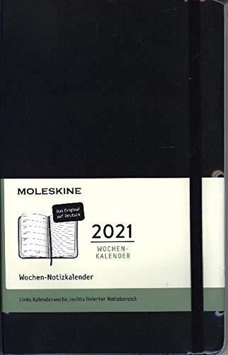 Moleskine Wochenkalender 2021, 12 Monate Wochenplaner horizontal in Deutsch, weicher Einband , Format Groβ 13 x 21 cm, Farbe schwarz, 144 Seiten