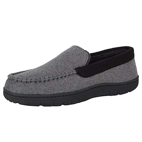 Hanes Men's Moccasin Slipper, Charcoal, X-Large