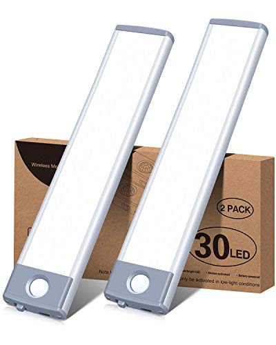 Led Under Cabinet Lighting Motion Sensor Wireless Rechargeable Cabinet Lights, Ultra Thin 30Led Battery Operated Closet Light for Kitchen, Closet (Pure White, 2Pack)
