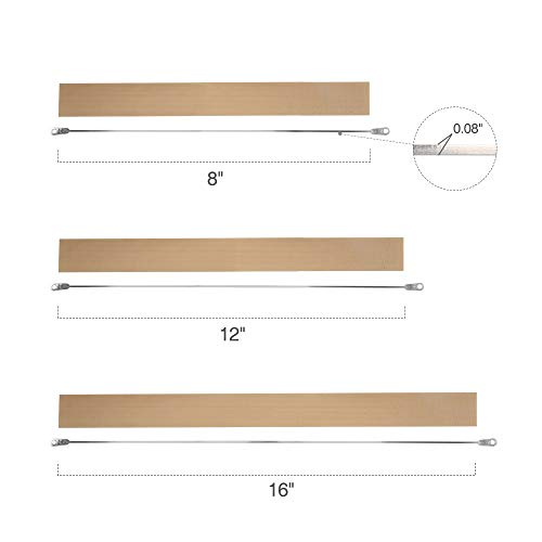 Fuxury 16 inches Heat Seal Closer Impulse Sealer Accessories,2 Wire Elements and 2 Teflon Tapes,Length: 16 inches (400mm), Seal Width: 0.08 inch (2mm)(2 Repair Kits)