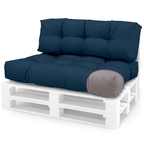 Spatium Coussins pour Palette Euro extérieur et intérieur Amovible taie d'oreiller imperméable Bleu Foncé 2-Piece Set